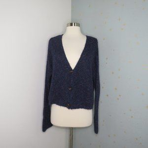 Wild Fable | Navy Heathered Cropped Cardigan